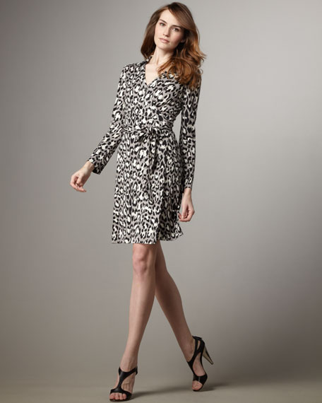 Jeanne Long-Sleeve Print Wrap Dress
