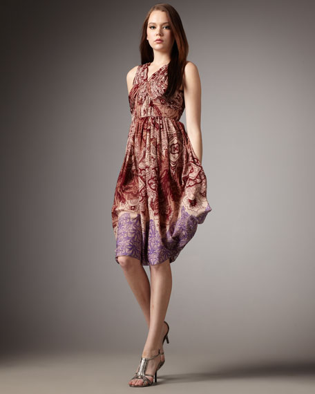 Ruched Eastern-Print Dress