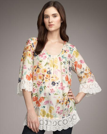 Ruffle Trim Floral-Print Tunic