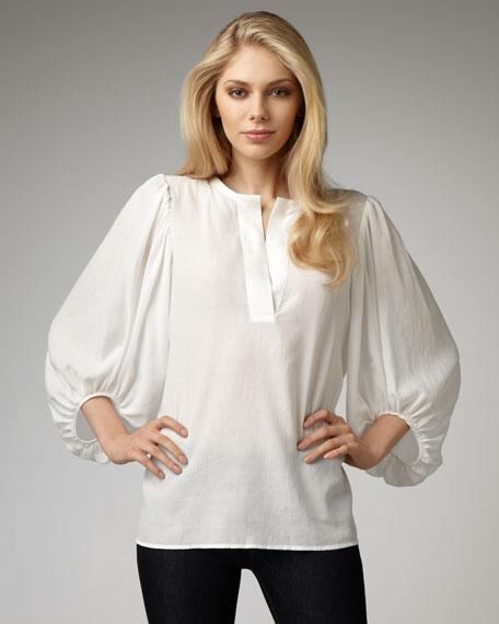 Stina Balloon-Sleeve Blouse, White