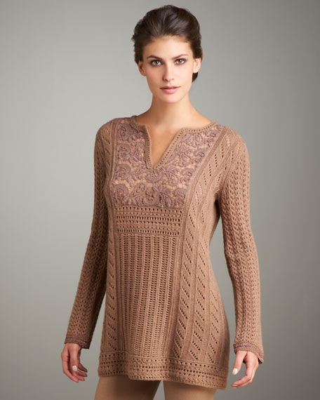 Macrame-Lace Sweater