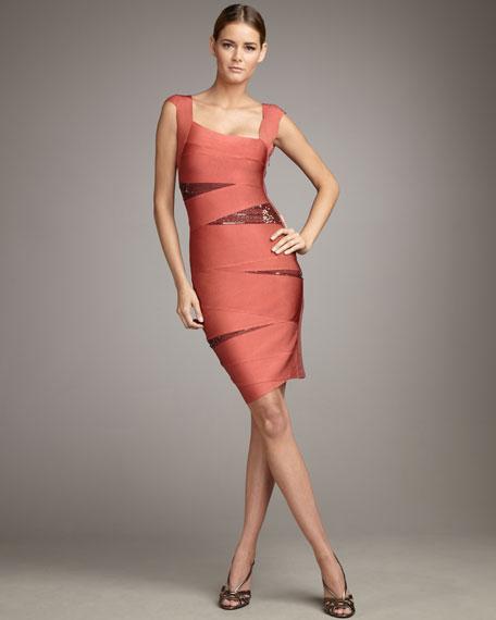 Slashed Sequined Bandage Dress, Bright Flame