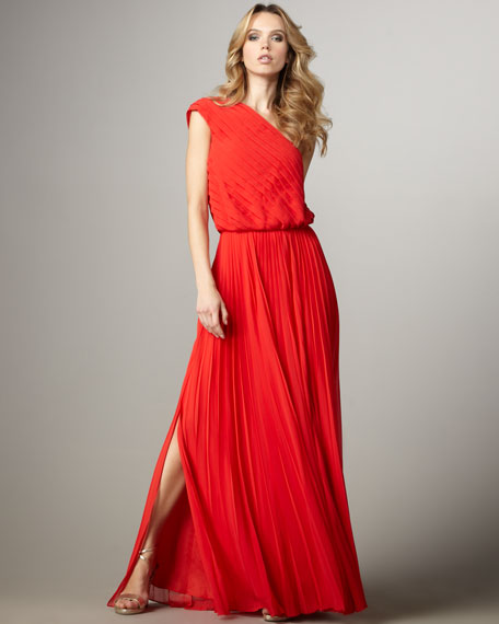 One-Shoulder Pleated Dress