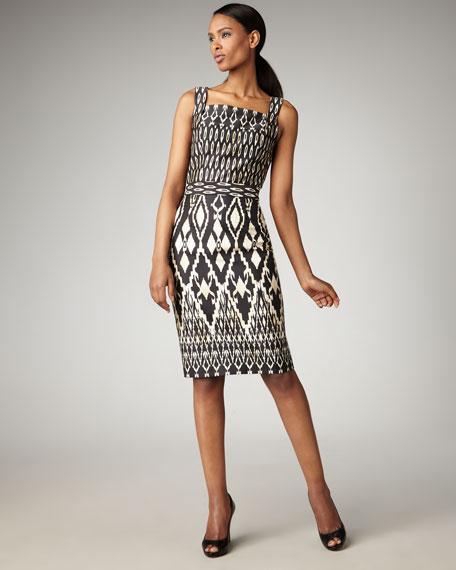 Ikat-Print Square-Neck Dress