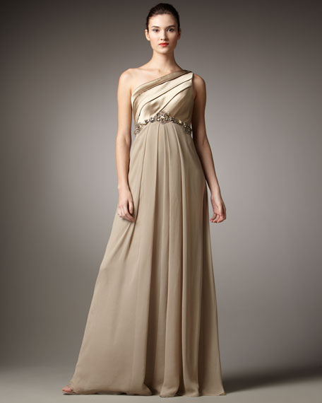 One-Shoulder Pleat-Top Gown