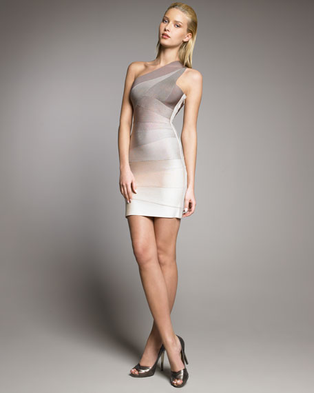 Ombre One-Shoulder Bandage Dress