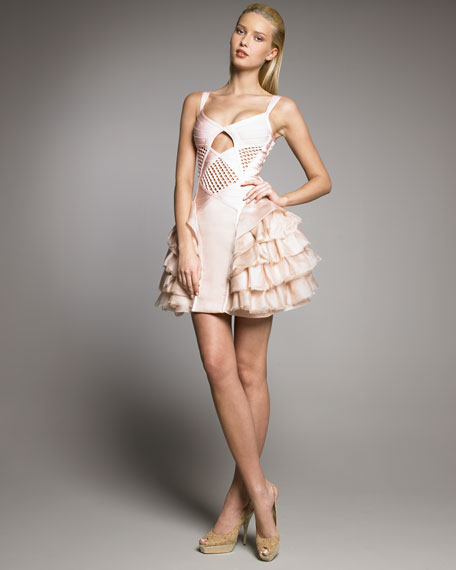 Runway Ruffle-Skirt Bandage Dress