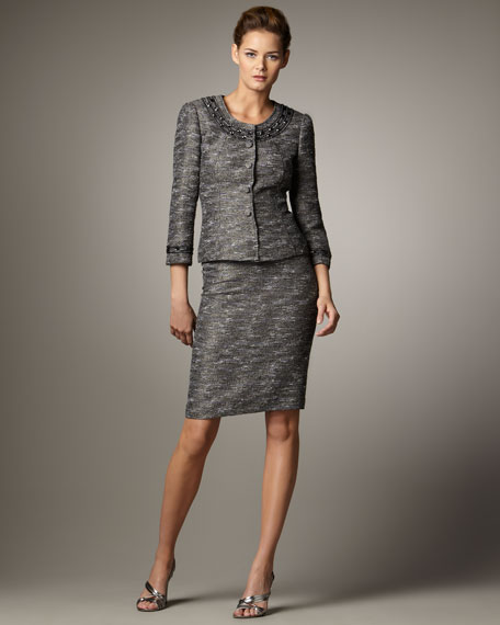 Bead-Neck Tweed Suit