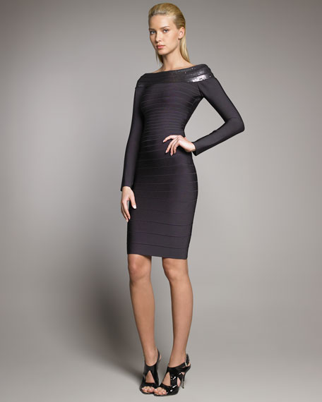 Sequin Long-Sleeve Bandage Dress
