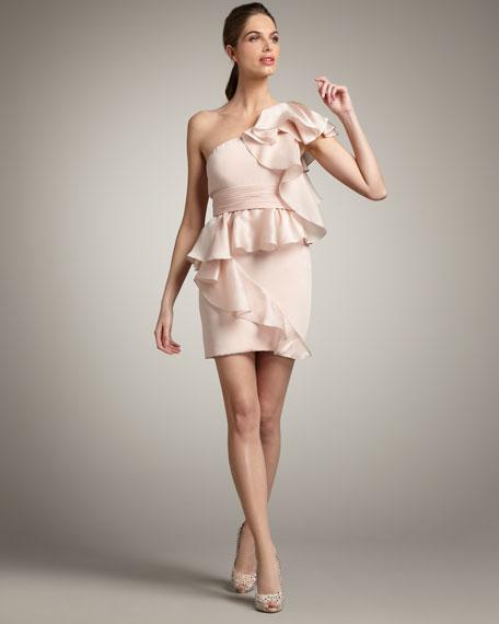 One-Shoulder Cascading Ruffle Dress