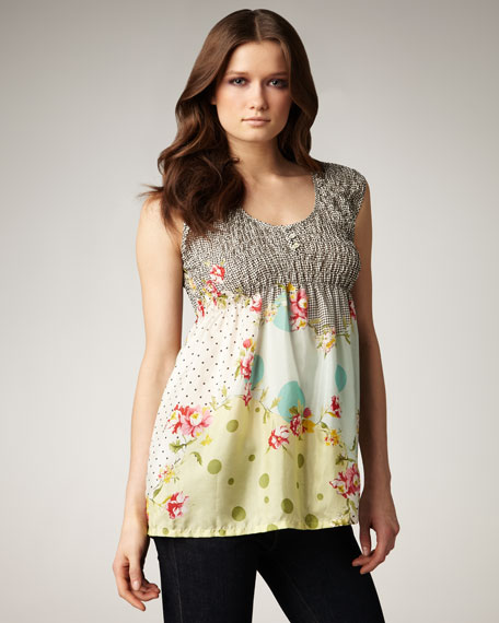 Johnny Was Collection Smocked Babydoll Tank