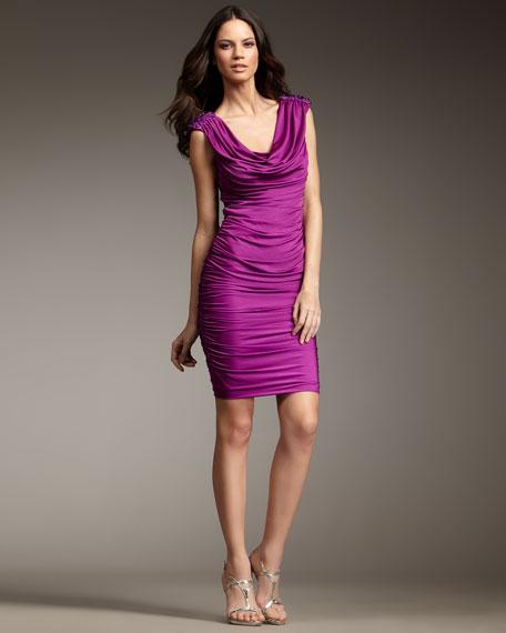Beaded-Shoulder Dress