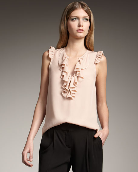 Ruffle-Front Silk Top