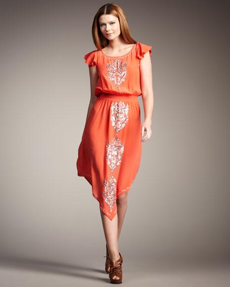 Asymmetric Hem Beaded Dress