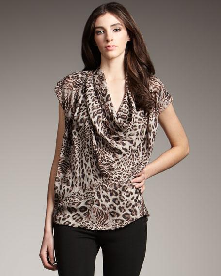 Leopard-Print Cowl-Neck Top