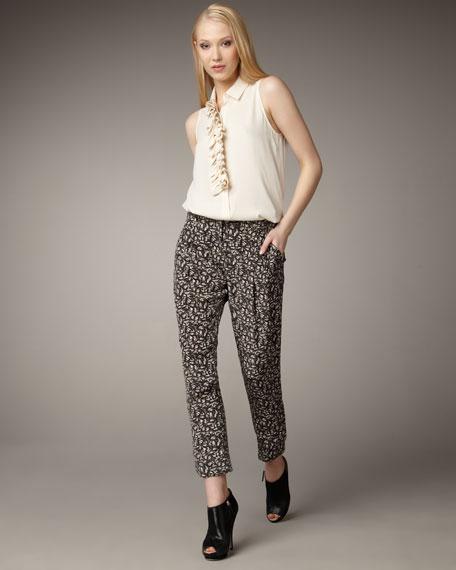 Floral-Print Pants