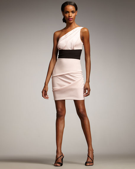 One-Shoulder Banded-Waist Dress