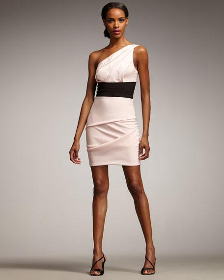 One-Shoulder Banded-Waist Dress