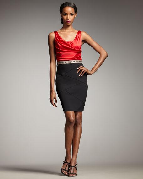 Cowl-Neck Combo Dress