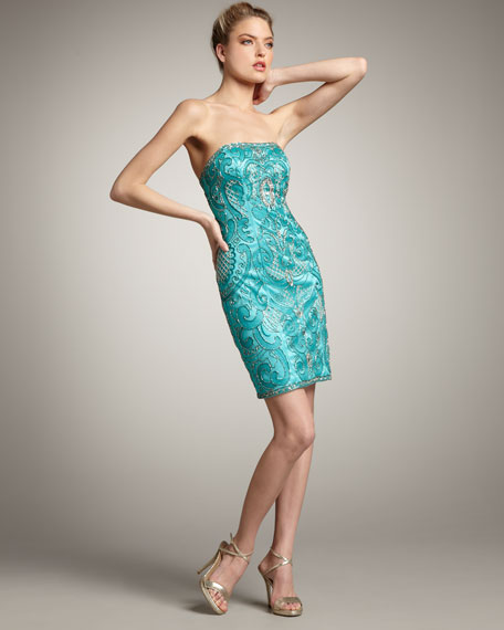 Strapless Beaded Swirl Dress