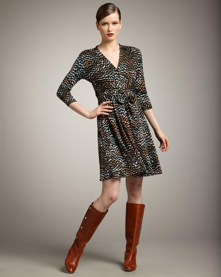 Three-Quarter-Sleeve Tie-Waist Dress