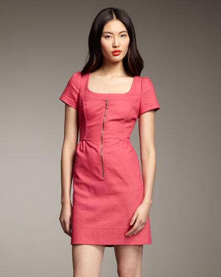 Short-Sleeve Zip-Front Dress