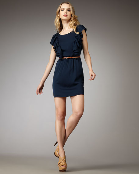 Flutter-Sleeve Belted Dress