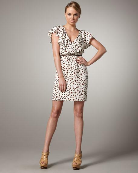 Flutter-Sleeve Spot-Print Dress