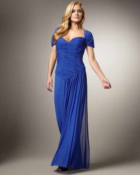 Ruched Cap-Sleeve Gown