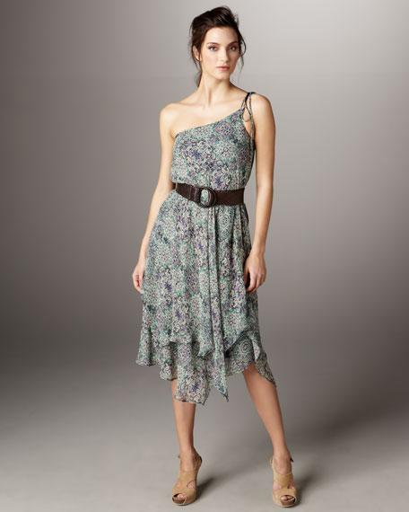 Mosaic One-Shoulder Dress