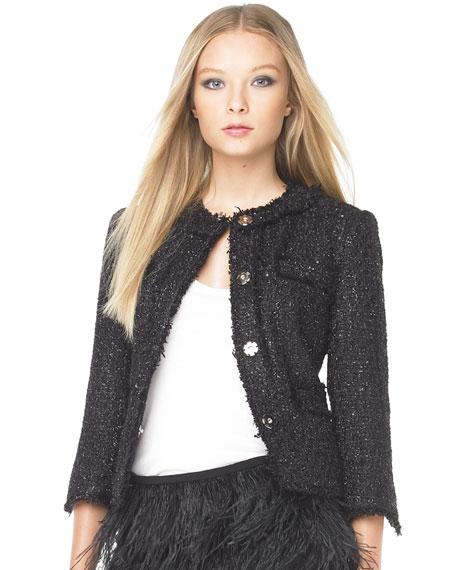 Sequin Eyelash Boucle Jacket