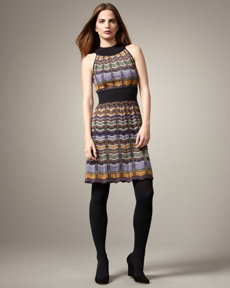 Plaid Chevron-Stripe Dress