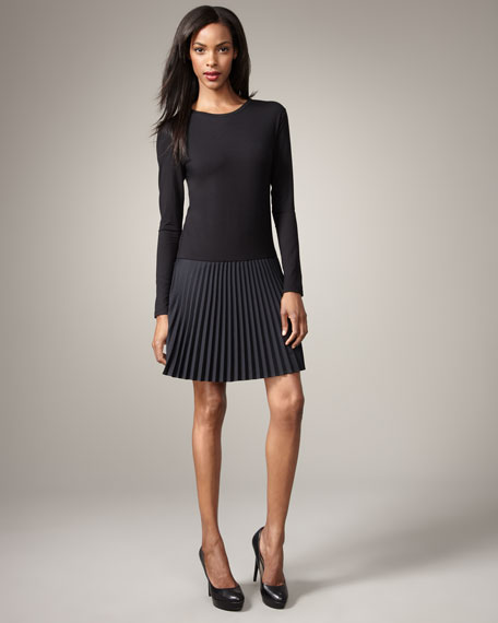 Pleated-Skirt Dress