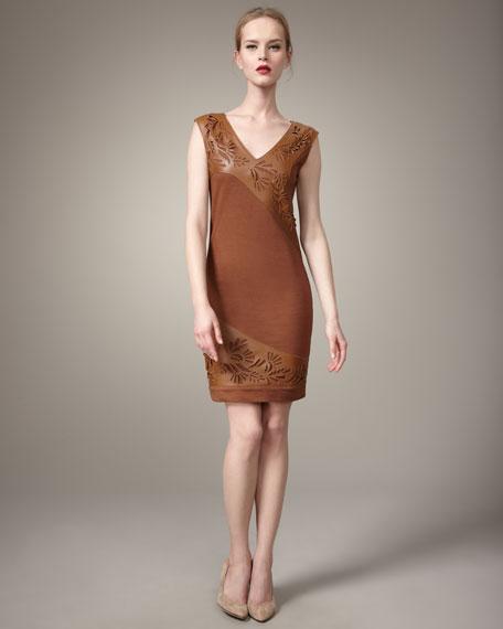 Joop Leather/Jersey Combo Dress