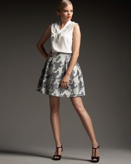 haley pleated houndstooth-print skirt