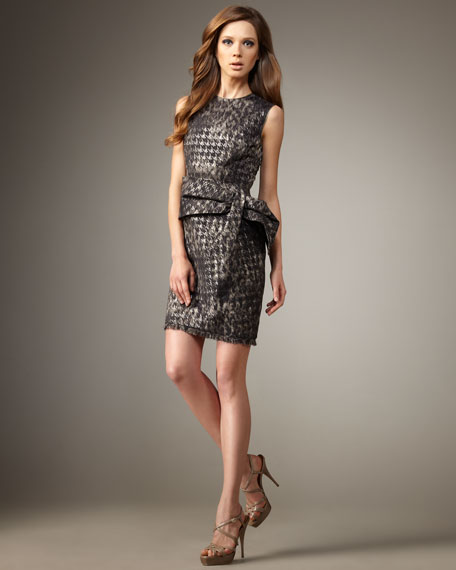 Draped-Bow Houndstooth Dress
