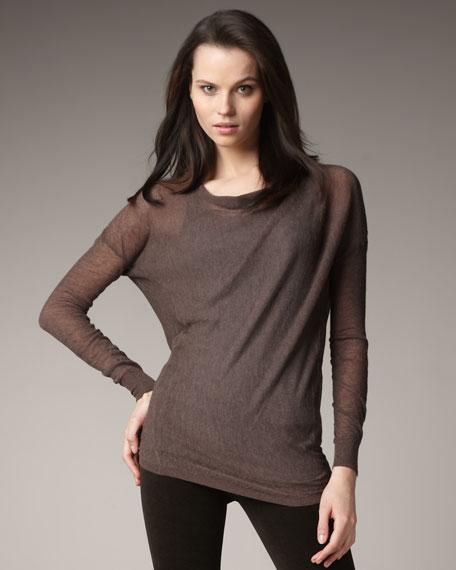 Fine-Gauge Drape-Neck Sweater, Moose