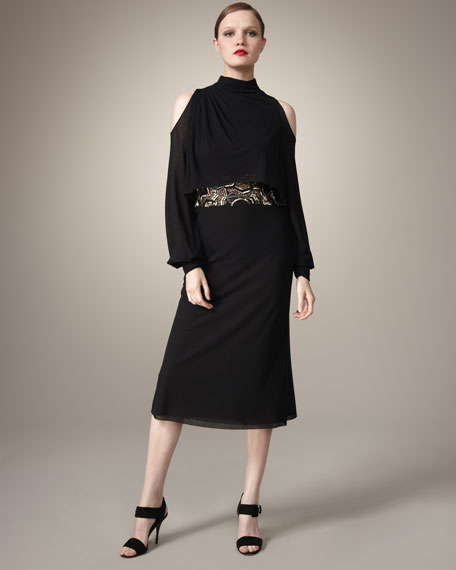 Illusion Beaded-Waist Dress