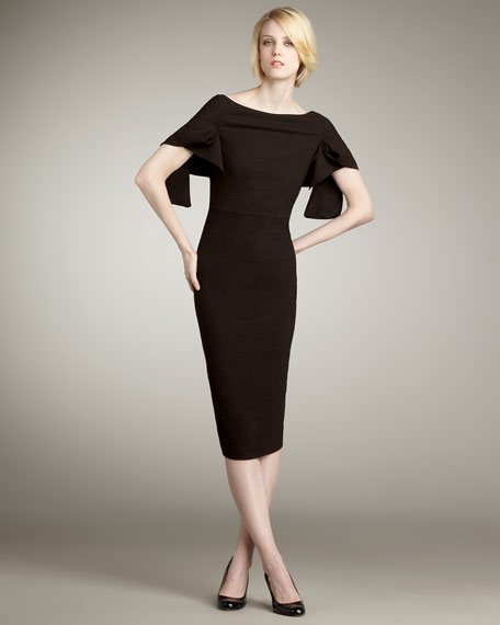 Big-Sleeve Bateau-Neck Dress