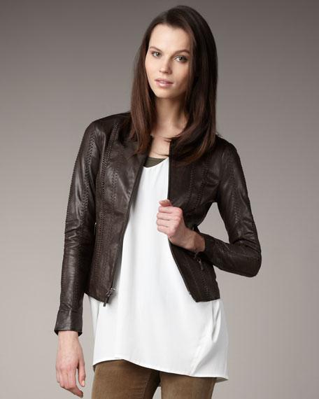 Leather Crewneck Jacket