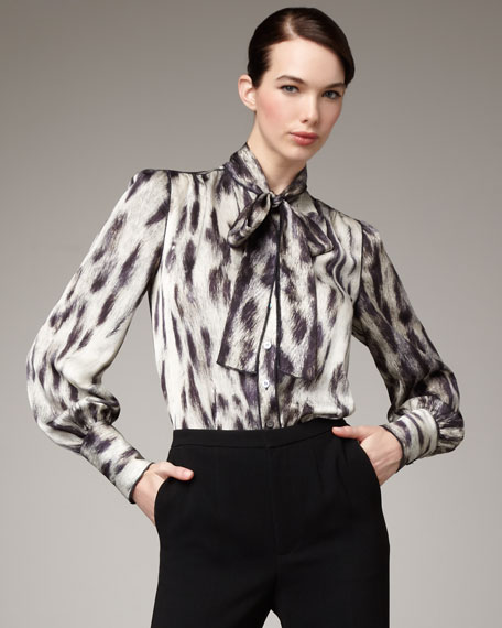 Animal-Print Tie-Neck Blouse