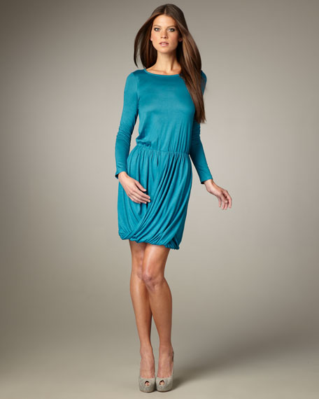 Long-Sleeve Jersey Drape Dress