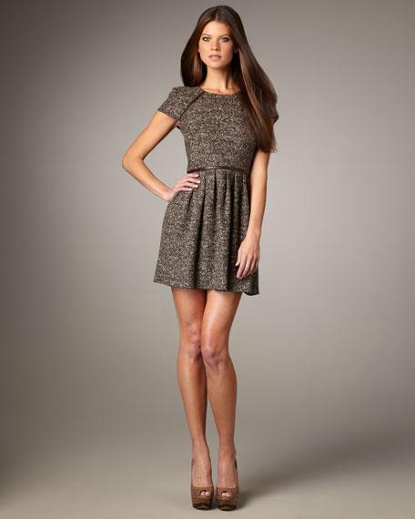 Tweedy-Knit Cap-Sleeve Dress