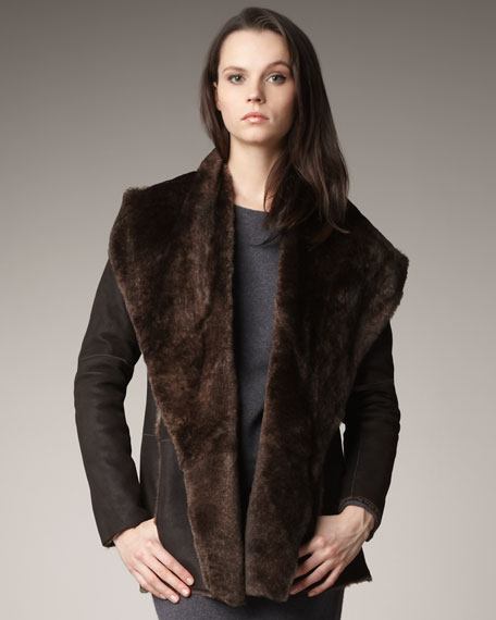 Hooded Shearling Coat