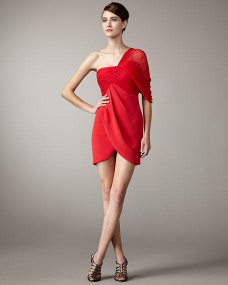 One-Shoulder Chiffon Draped Dress