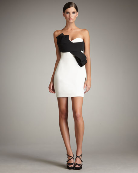 Bow-Front Contrast Dress