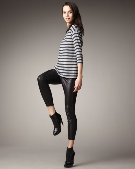Stretch Leather Cropped Leggings