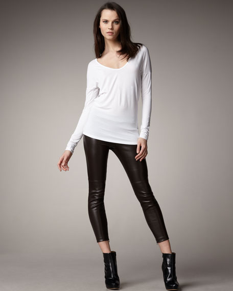 Stretch Leather Cropped Leggings, Dark Brown