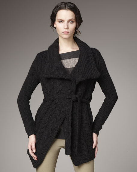 Cable Tie-Waist Cardigan