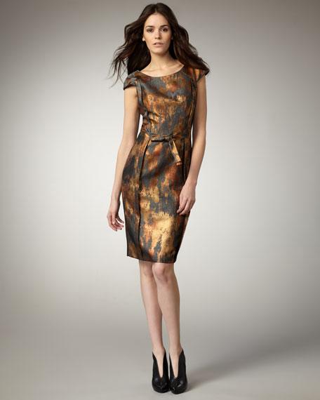 Tie-Waist Jacquard Dress